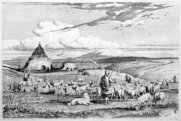 Charles Coleman (1807–1874): Etching of transhumant shepherds in the campagna romana, showing sheep, working dog of Pastore Maremmano-Abruzzese type, working horses of Maremmano type, conical capanna or lestra.