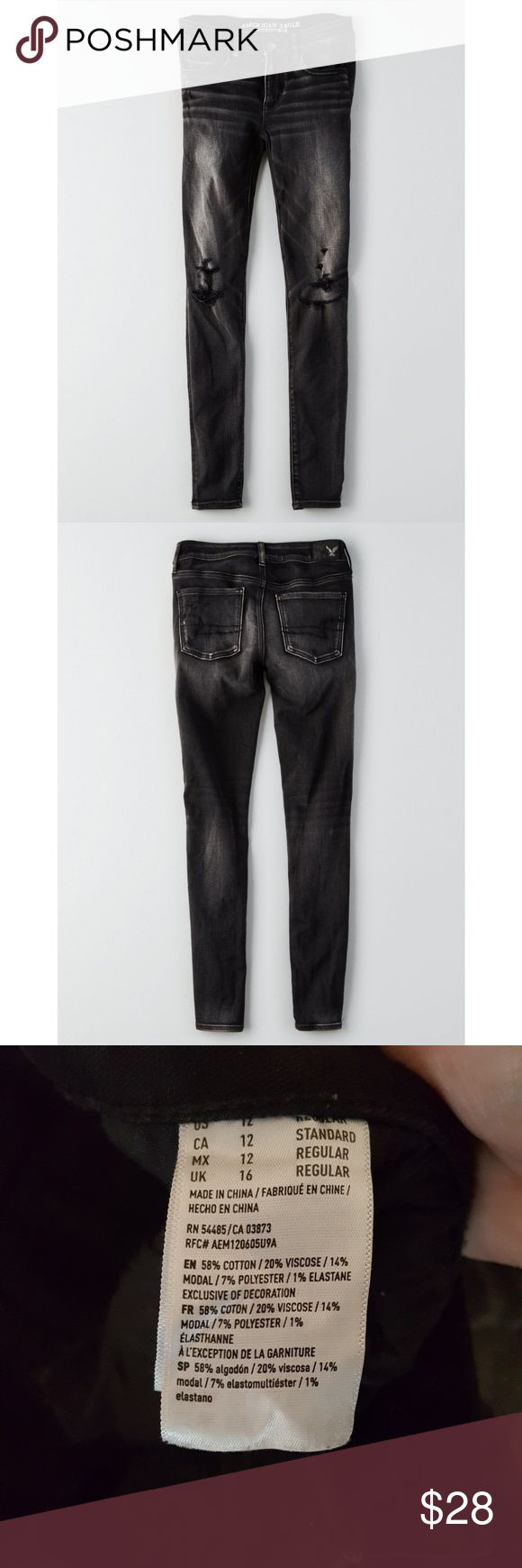 AEO || Denim X Jeggings Black Charcoal Regular Super stretch. Regular length. Distressed.  Black charcoal. Worn about 2 times. Line dried. American Eagle Outfitters Jeans