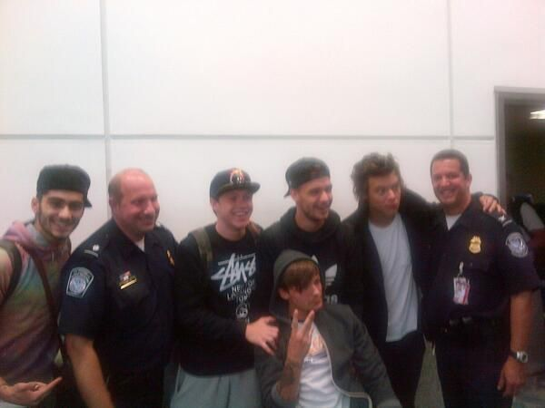 The boys at the Newerk Airport with police yesterday!