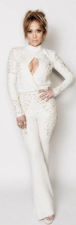 Who made  Jennifer Lopez's white long sleeve jumpsuit and platform sandals?
