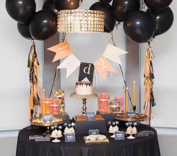 High Style Black & Gold Birthday Party  love all of the gold touches!
