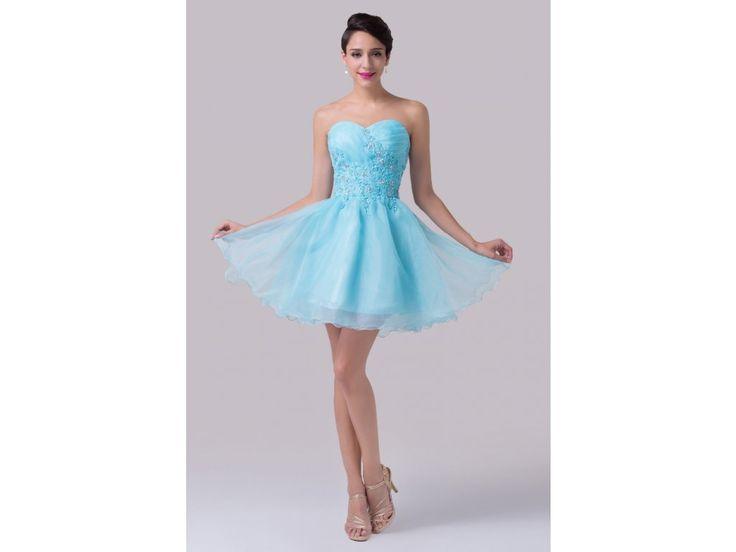 Modré koktejlové šaty s vyšívanou aplikací, 32 - 42 - Bestmoda