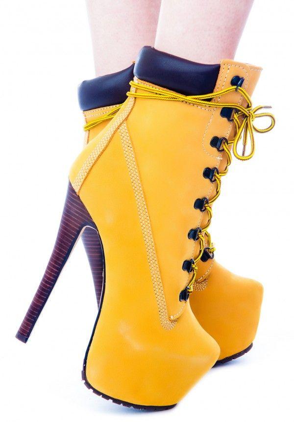 tan timberland heels outfit