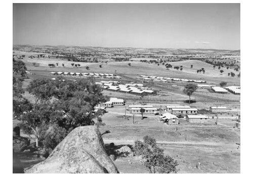The prisoner of war camp at Cowra in 1944.The camp was divided into four compounds, each surrounded by high barbed wire fences.Compounds A and C housed Italians, Compound B housed Japanese soldiers and non-commissioned officers and Compound D housed Japanese officers as well as Koreans and Chinese from Formosa who had been interned as Japanese.