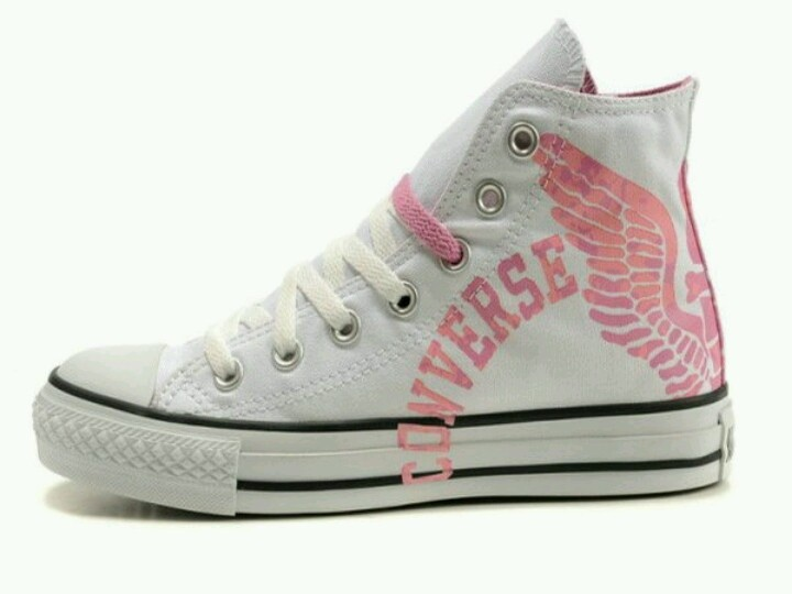 UK Converse All Star High Top With Pink Letters and Wings Canvas White