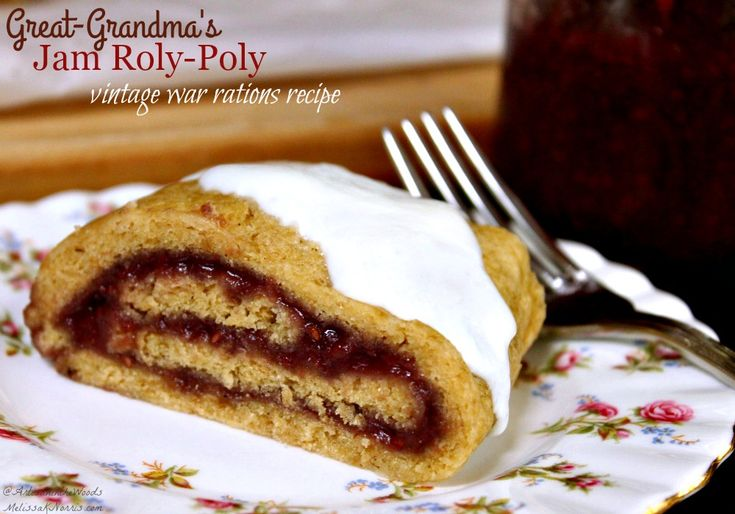 A vintage jam roly-poly without suet recipe from her great-grandmother's war time rationing cookbook. No added sugar and perfect way to use up homemade jam.