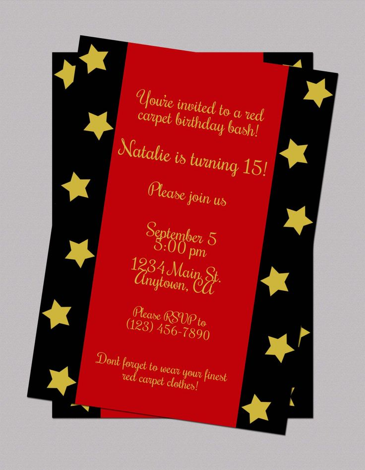 Red Carpet Teen Birthday Invitation, Digital Birthday Invitation, Oscar Party Birthday Invitation (($))