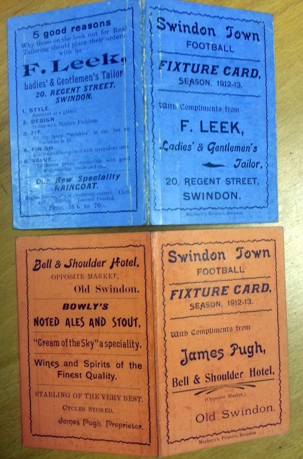 1912-13 Swindon Town FC fixture cards