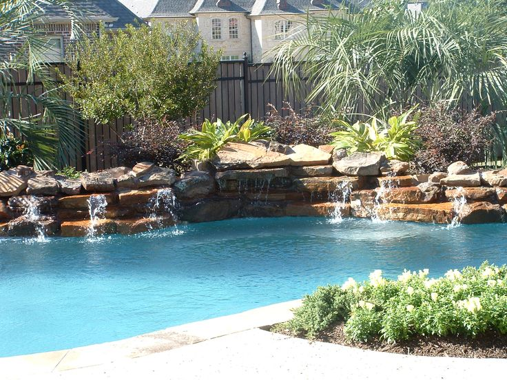 Pools | Rock Waterfalls   Low Profile Rock Waterfall Swimming Pool Feature .