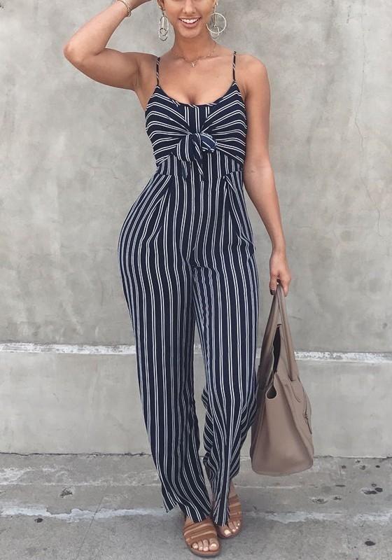 b0a51b987308 Black-White Striped Cut Out Backless Lace-up Spaghetti Strap Wide Leg Long  Jumpsuit