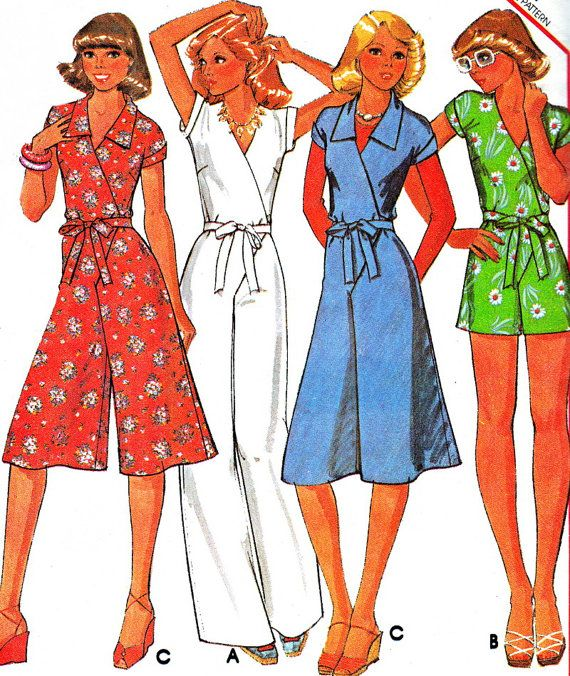 Vintage 1970s womens jumpsuits in 2 lengths and womens romper have extended shoulder line, armhole bands and tie belt draw through side opening tied