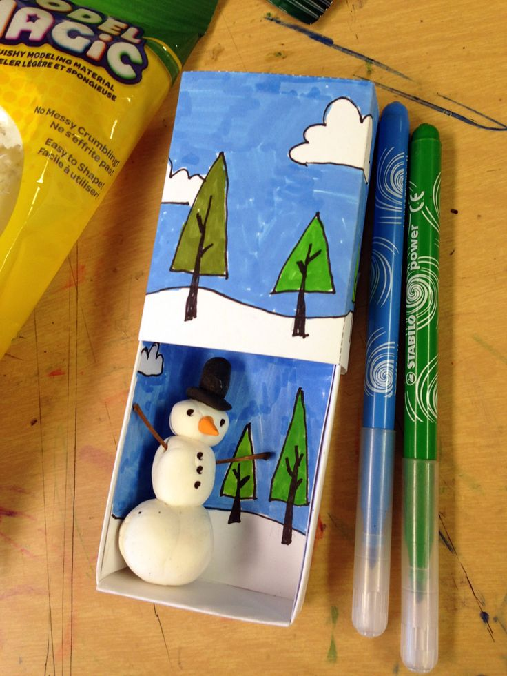 Here's one of my recent favorites, a Snowman Matchbox project that I think I enjoyed watching as much as the students did making.