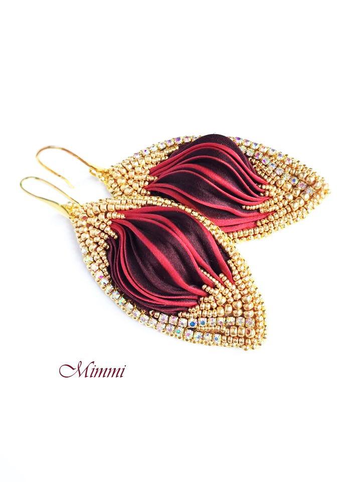 Серьги шибори / Shibori silk jewelry | biser.info - всё о бисере и бисерном творчестве