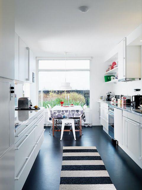 black floor in kitchen