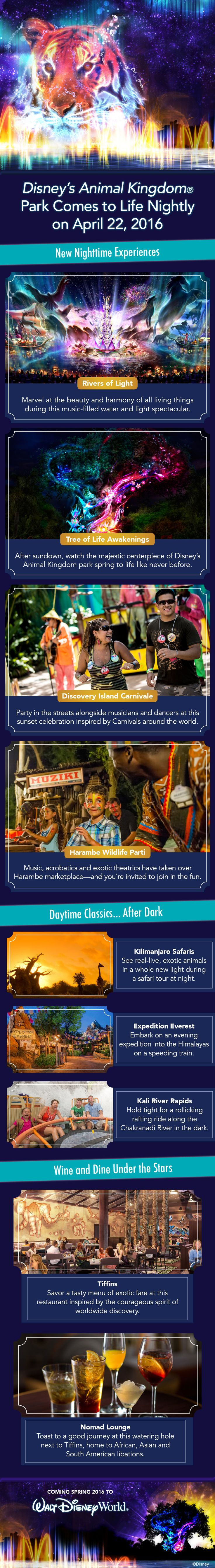 Disney's Animal Kingdom Park will come to life nightly beginning April 22, 2016! From new nighttime experiences like Rivers of Light and Tree of Life Awakenings to experiencing daytime classics after dark, here's a look at the exciting new offerings you'll be able to enjoy!