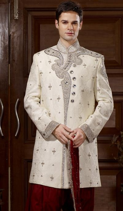 G3 fashions Cream Brocade Embroidered Wedding Sherwani  Prooduct Code : G3-MSH10000117 Price : INR RS 25095