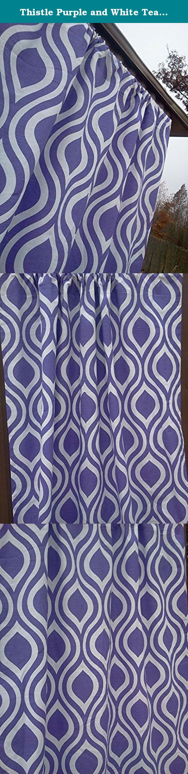 "Thistle Purple and White Teardrop Full Length Curtains, Purple Teardrop Valance Curtains, 100% quality cotton Slub Premier Prints drapery fabric These curtains are 84"" Long by 52"" Wide. Thistle Purple and White Full Length Teardrop Curtains, 52"" Wide by 84"" Long; 100% quality cotton Slub, Premier Prints home décor weight drapery fabric. Please allow 7-14 days for delivery, as the curtains are handmade after your purchase to keep inventory costs low. Keeping inventory costs low helps keep…"