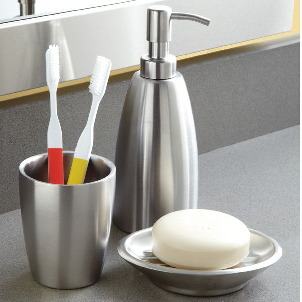 Interdesign forma stainless steel countertop bathroom set