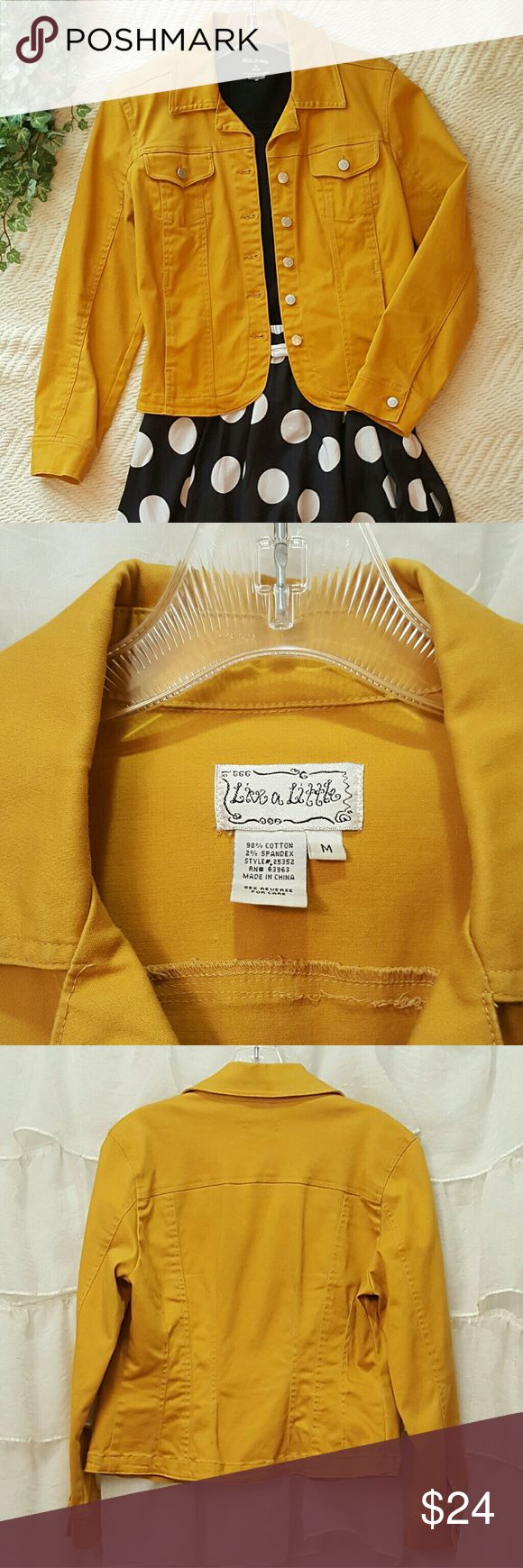 Live a Little Mustard Jean Jacket Live a Little Mustard Jean Jacket. Add a pop of color this fall with this adorable denim jacket! Excellent condition! Live a Little Jackets & Coats Jean Jackets