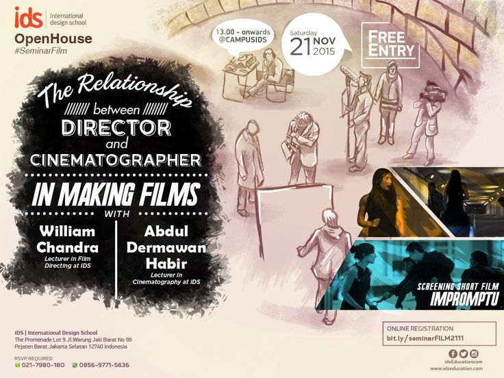 "Open House IDS: ‪#‎SeminarFilm‬ ""THE RELATIONSHIP BETWEEN DIRECTOR AND CINEMATOGRAPHER IN MAKING FILMS"". 21 Nov 2015. Info:  http://bit.ly/InfoSeminarFILM11 #SeminarFilm #MakingFilms #FilmSchool"