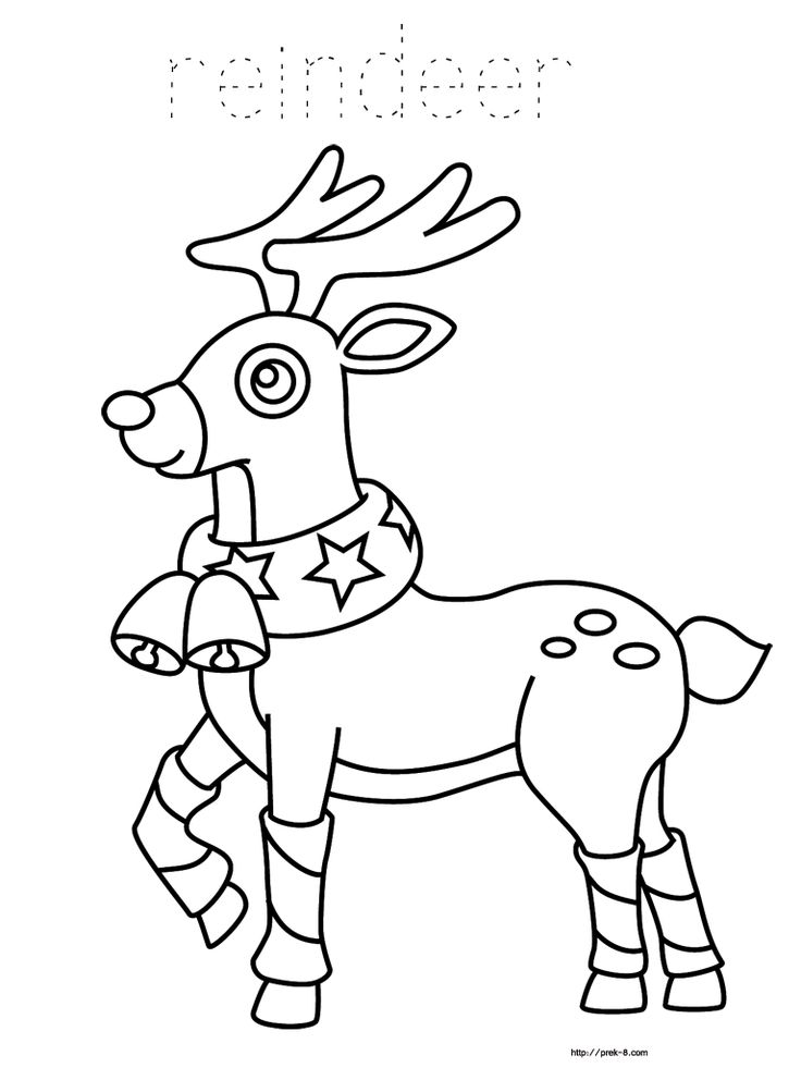 Reindeer Coloring Pages Santa Reindeer Christmas