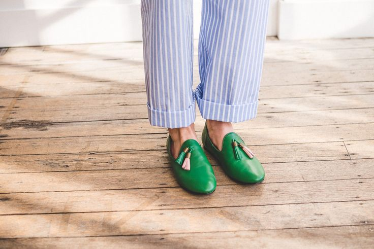 Radical Yes 'Dharma' Manstyle Slipper - Green Leather