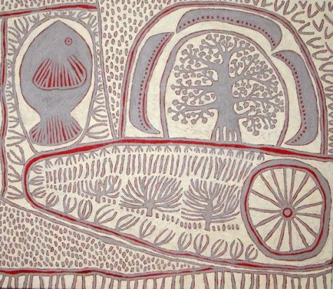 Fish, Wheel and Tree. Marina Strocchi. Territory, Raised in an italian Australian family, living in the Northern Territory, and inspired by ancient cultures, Marina's work is a compelling and dynamic fusion of cultural diversity and influences.     Marina began her art practice as a printmaker with a strong focus on the simplicity and strength of the line. From this beginning she evolved into a painter, incorporating texture and a desert palette. (info. on Michael Reid website)