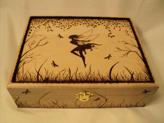 Wooden Woodburned Fairy Forest Jewelry Box, fairy box, keepsake box, fairies, wood sprite, memory box