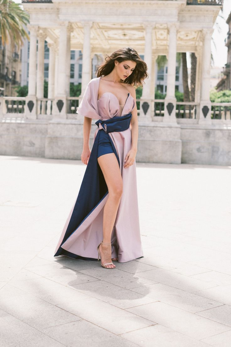 Next  Be a queen in our Gloria dress. Draping V plunge corset detail and one shoulder cover up, high split skirt, maxi dress.  Julia Toaders