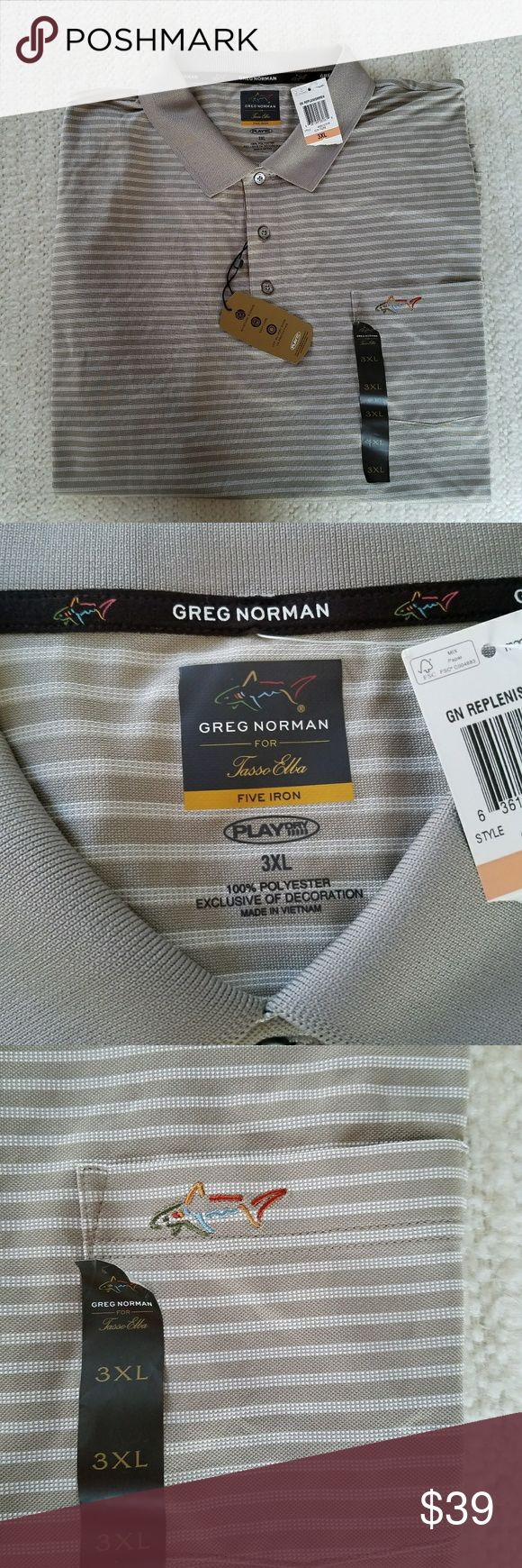 GREG NORMAN FIVE IRON POLO SHIRT 3XL NWT GREG NORMAN FIVE IRON POLO SHIRT 3XL This great polo shirt is tan with white stripes. It is a Play Dry Golf polo shirt with moisture wicking, easy care and UPF 30 Very Good UV Protection. Greg Norman  Shirts Polos