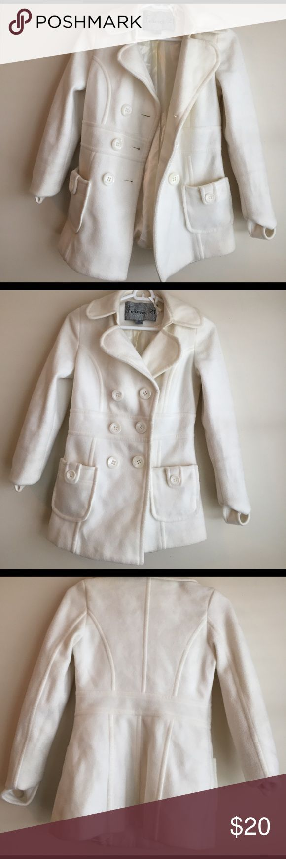 Forever 21 Cream coat Double breasted peacoat, forever 21 Forever 21 Jackets & Coats Pea Coats