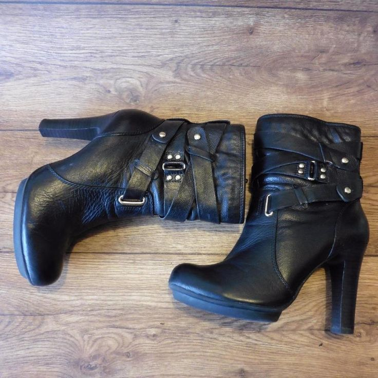 SIZE UK 5 LIMITED COLLECTION MARKS & SPENCER BLACK SEXY HEELED BIKER ANKLE BOOTS