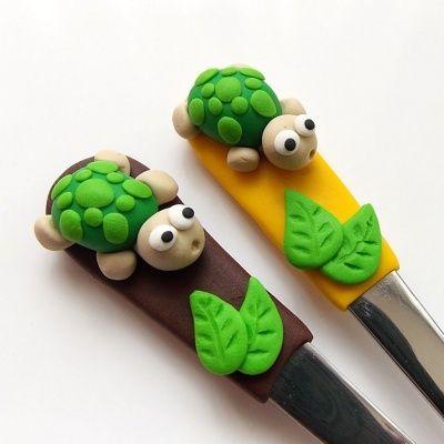 Čajové lžičky - želvička - hnědá
