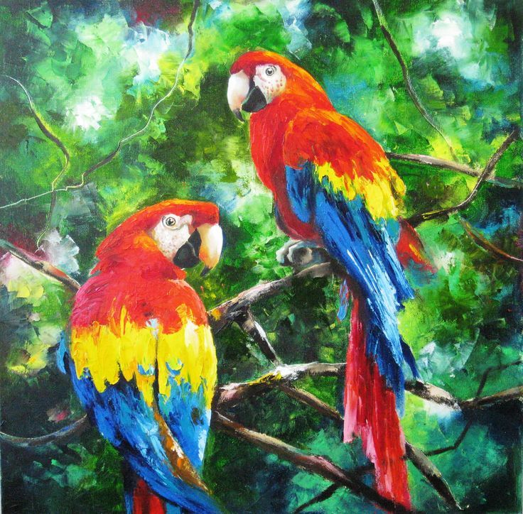 Parrot Painting Palette Knife Oil On Canvas Tropical Birds