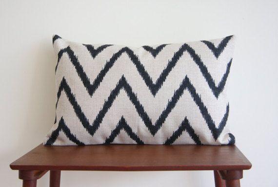 "Rectangle Cushion, 14"" x 20"" Decorative Pillow Cover, Black Chevron Cushion, Geometric Minimalist Pillow Cover"