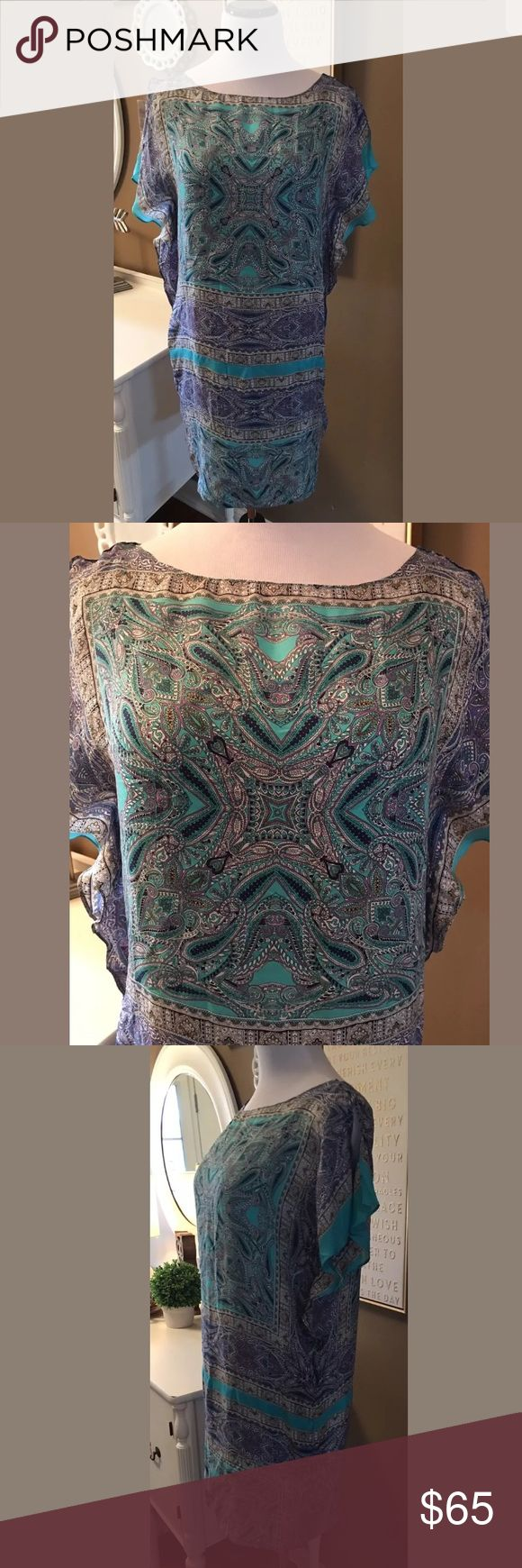 Massimo Dutti Silk Scarf Dress w/ Turquoise Liner Massimo Dutti 100% Silk Scarf Dress 6 Multi Colored With Turquoise Liner $145 Massimo Dutti Dresses