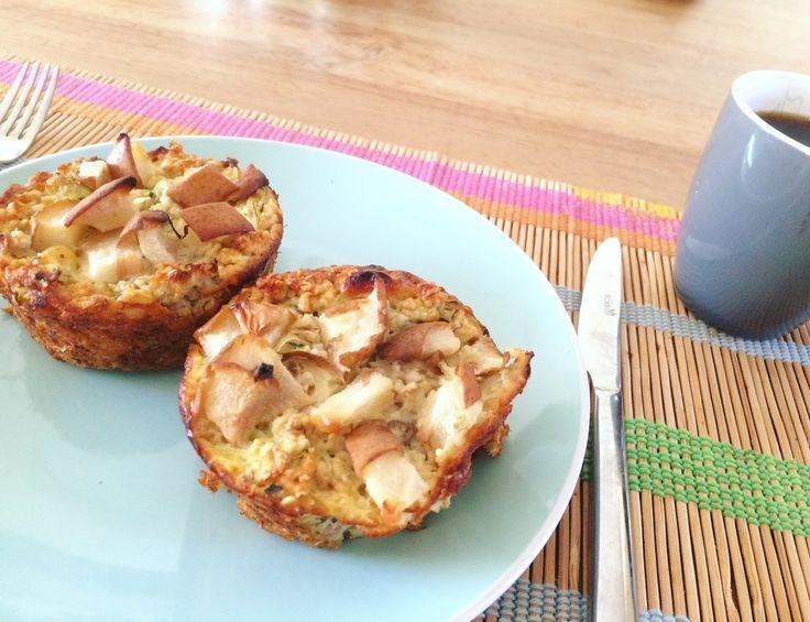Hedwig's recepten en voedingswetenswaardigheden - Banaan/ courgette-muffins met peer, kaneel en gele rozijnen