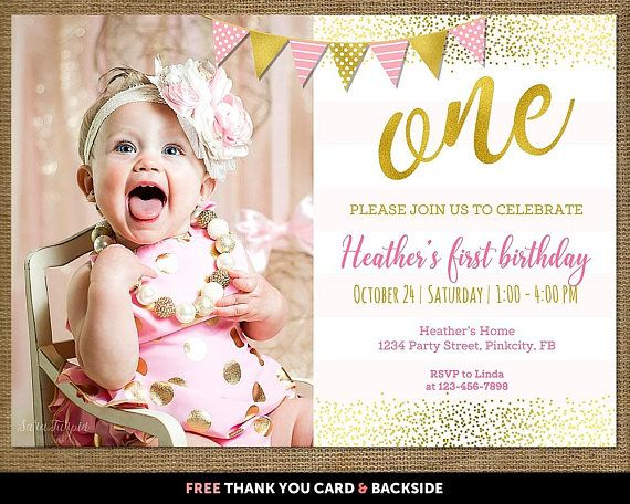 First birthday invitation girl, First birthday invitation girl pink and gold, Pink and gold first birthday invitation, Pink gold invitation. THIS INVITATION IS DIGITAL FILE. NO PHYSICAL ITEM WILL BE SHIPPED OR PRINTED. [HOW TO ORDER]