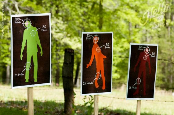 Nerf Zombie Targets  Party Printable Decorations  by HelloMySweet