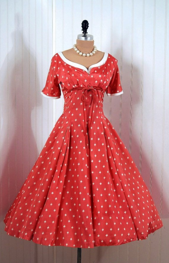 Party Dress: 1950's, Atomic polka-dot print taffeta, linen-trimmed shelf-bust bodice, velvet bow-tie accent.