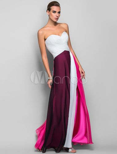 Strapless Maxi Dress Color Block Split Chiffon Dress-No.2