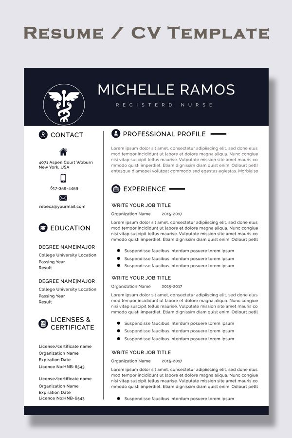 Nurse Resume Cv Template Medical Cover Letter Mac Pc Easy To Edit And Instant Download In 2020 Resume Template Word Teacher Resume Template Cv Template