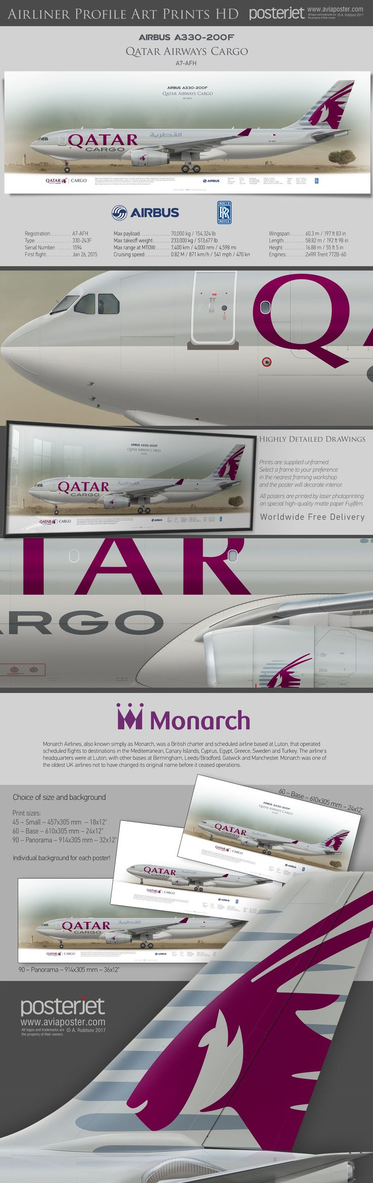 Airbus A330-200F Qatar Airways Cargo A7-AFH | https://www.aviaposter.com/casiameast | #airliners #aviation #jetliner #airplane #pilot #aviationlovers #avgeek #jet #airport #pilotlife #cabincrew #airbuslovers #airbuspilot #airbuscrew #airbus330