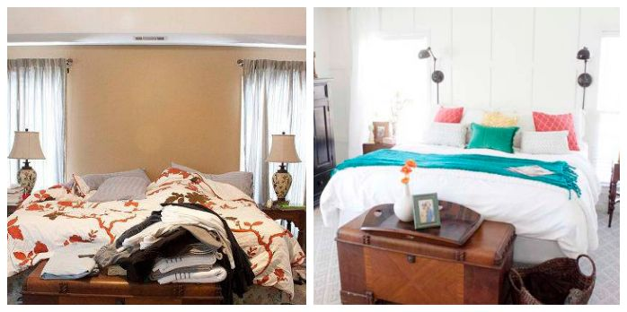 25 Rooms Transformed Beyond Belief - Page 8  http://www.housebeautiful.com/decorating/home-makeovers/cluttered-bedroom-facelift#slide-8
