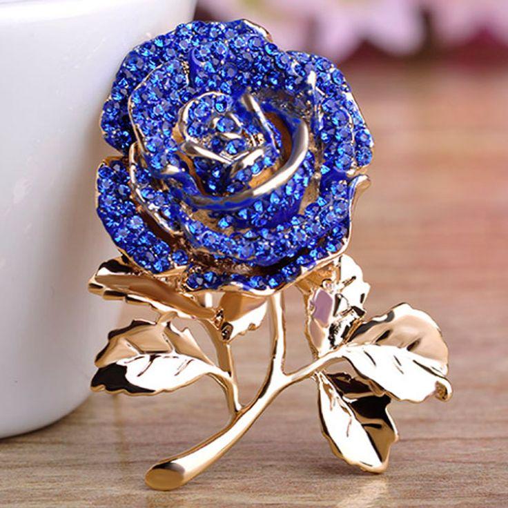 Fashion Women Blue Rhinestone Flower Brooches Bridal Jewelry Perfect Enamel Pin Brooch Women Wedding Hijab Pins Broaches Broche