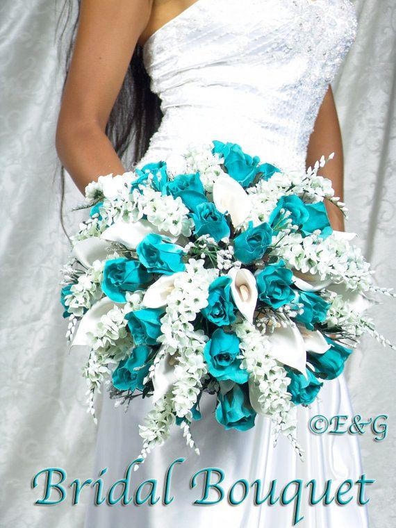 Southern Blue Celebrations Teal Tourquoise Wedding Bouquet Ideas