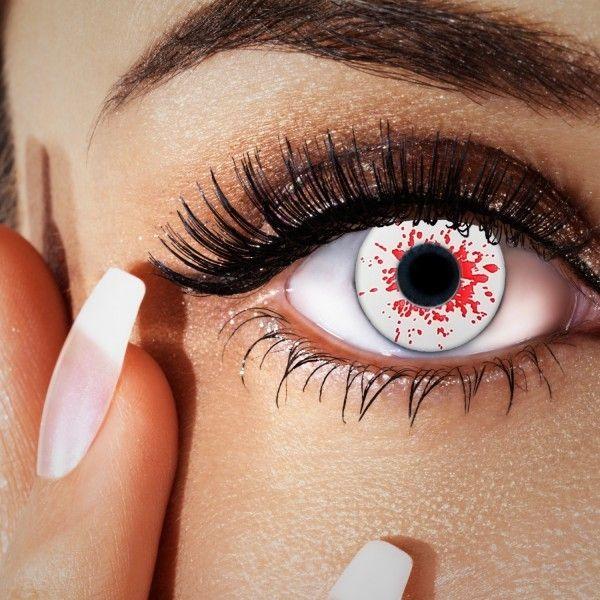 #Blut-Kontaktlinsen, Farblinsen weiß mit Blutspritzern, #grusellinsen, #halloween Kontaktlinsen