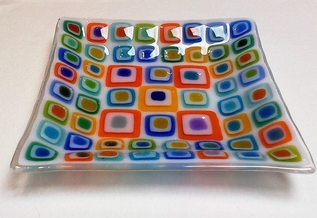 Fused Glass dish Retro Square multi 18cm  £30.00