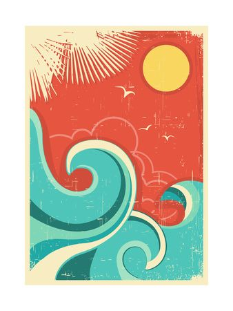 Vintage Tropical Background With Sea Waves And Sun Art Print at AllPosters.com