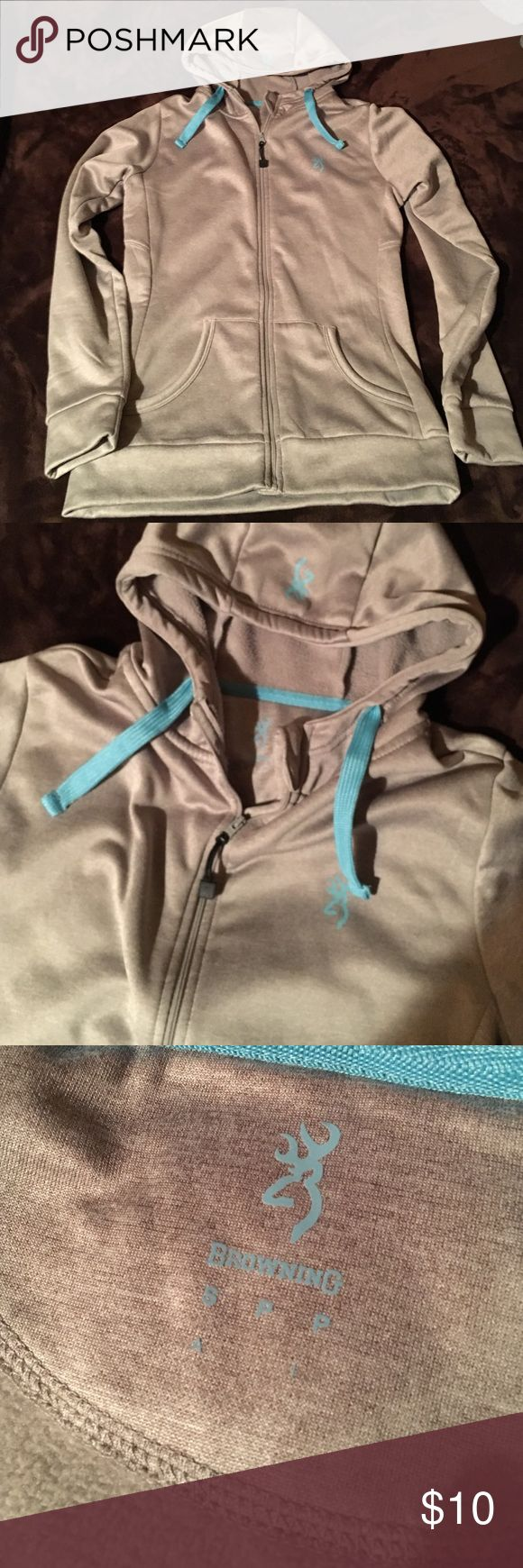 Women's browning zip up New without tags. Grey with blue accents. browning Tops Sweatshirts & Hoodies